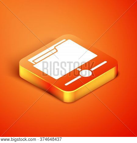 Isometric Ftp Folder Icon Isolated On Orange Background. Software Update, Transfer Protocol, Router,