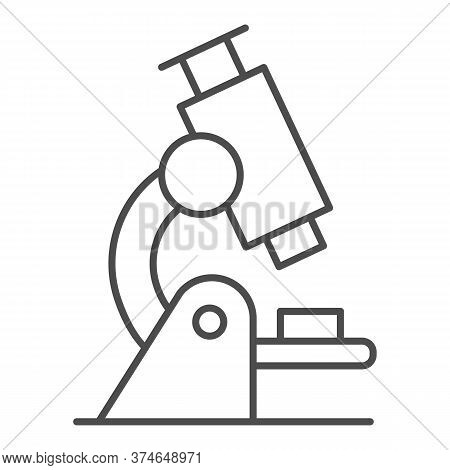 Microscope Thin Line Icon, Education Concept, Biochemistry And Microbiology Equipment Sign On White