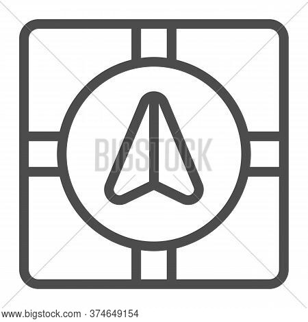 Gps Navigator Marker And Crossroads Line Icon, Navigation Concept, Navigation Arrow On City Map Sign
