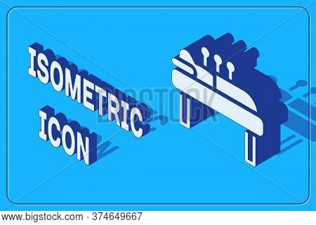 Isometric Acupuncture Therapy Icon Isolated On Blue Background. Chinese Medicine. Holistic Pain Mana