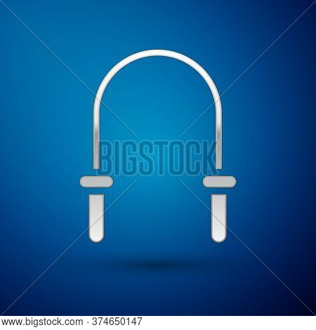 Silver Jump Rope Icon Isolated On Blue Background. Skipping Rope. Sport Equipment. Vector