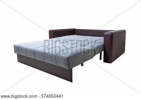 Modern Brown And Blue, Fabric And Leather Sofa Isolated On White Background. Unfolded Soft Couch, Si