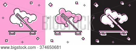 Set Scented Spa Stick On A Wooden Stand Icon Isolated On Pink And White, Black Background. Incense S
