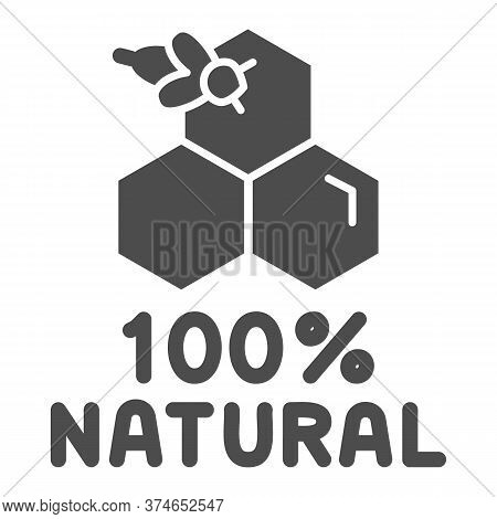 Honeycombs With Bee And Text Natural Honey Solid Icon, Natural Organic Honey Sign On White Backgroun