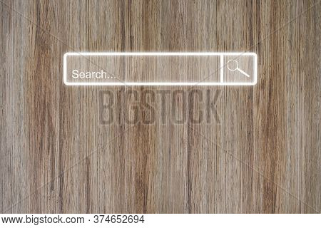 Search Bar Online Browsing On Wood Table. Idea For Searching Browse Data Information Networking