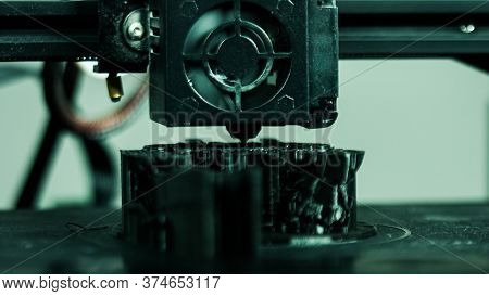 3d Plastic Printer During Work In A Factory Three Dimensional Printing. Close-up Detail.