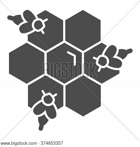 Honeycomb With Bees Solid Icon, Honey Concept, Honey Bees In Honeycomb Sign On White Background, Bee
