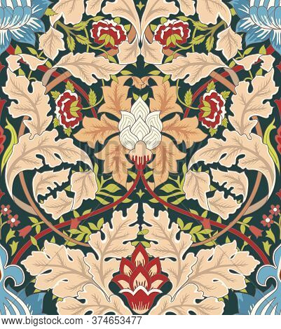 Vintage Flowers And Foliage Seamless Ornament On Dark Background. Middle Ages Style William Morris.