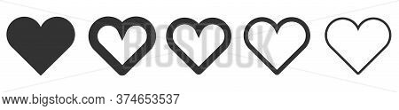 Heart Linear Vector Icon. Valentine Love And Wedding Thin Line Heart Frames Heart Vector Icon Isolat