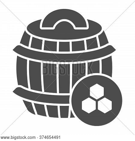 Barrel Of Honey Solid Icon, Beekeeping Concept, Wooden Barrel And Honeycomb Sign On White Background