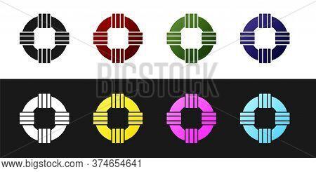 Set Lifebuoy Icon Isolated On Black And White Background. Lifebelt Symbol. Vector.