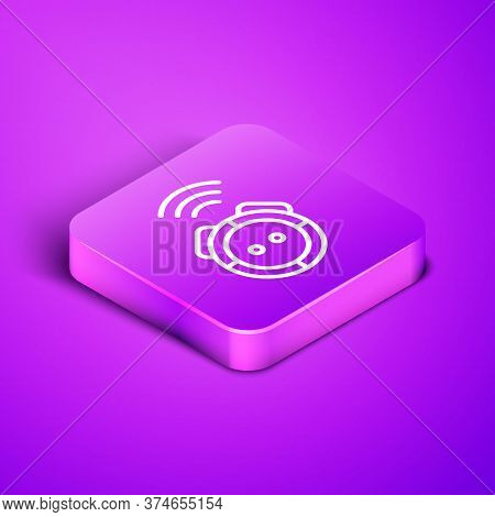 Isometric Line Robot Vacuum Cleaner Icon Isolated On Purple Background. Home Smart Appliance For Aut