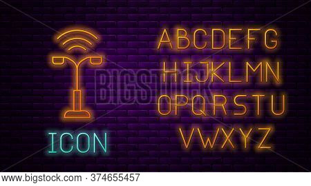 Glowing Neon Line Smart Street Light System Icon Isolated On Brick Wall Background. Internet Of Thin