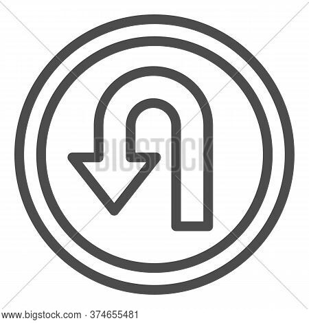U-turn Traffic Sign Line Icon, Navigation Concept Road Sign With Turn Symbol On White Background, U-