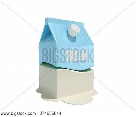 Minimalistic Packaging Of Milk 3d Render On White No Shadow