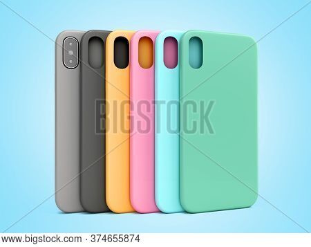 Multicolored Phone Cases Presentation For Showcase 3d Render On Blue Gradient