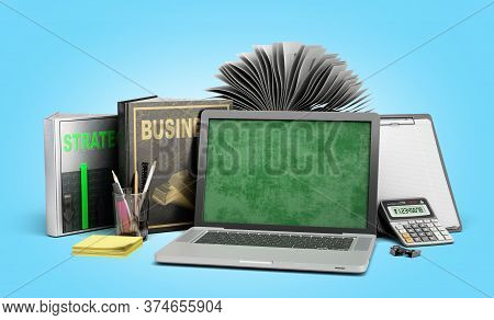 Online Business Training Concept Laptop With Books And Calculator 3d Render On A Blue Gradient Backg