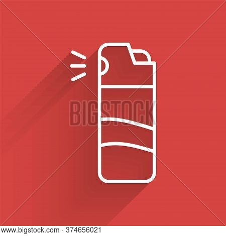 White Line Pepper Spray Icon Isolated With Long Shadow. Oc Gas. Capsicum Self Defense Aerosol. Vecto