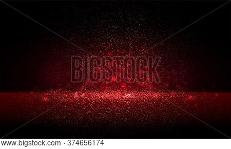 Luxury Red Gold Glitter Particles On Black Background. Red Glowing Lights Magic Effects. Glow Sparkl