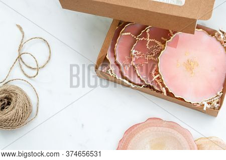 Creativity And Craft. Resin Coasters And Packaging For Them. Gift Wrapping. Decorative Packaging. Id
