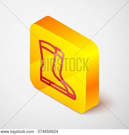 Isometric Line Fishing Boots Icon Isolated On Grey Background. Waterproof Rubber Boot. Gumboots For