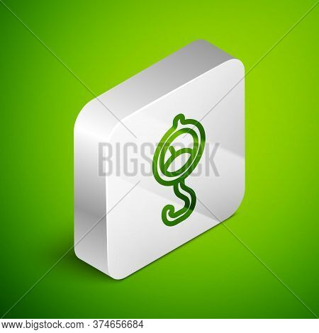 Isometric Line Spring Scale Icon Isolated On Green Background. Balance For Weighing. Determination O
