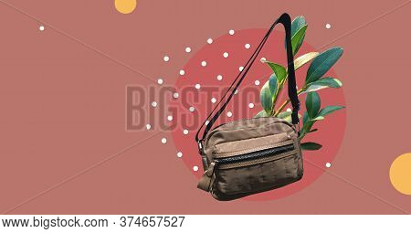 Brown Belt Bag With Pocket With Fresh Plants Isolated On Abstract Colorful Background. Waist Bag Wit