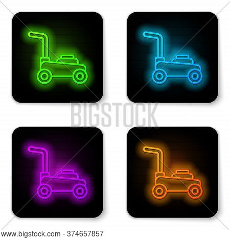 Glowing Neon Line Lawn Mower Icon Isolated On White Background. Lawn Mower Cutting Grass. Black Squa