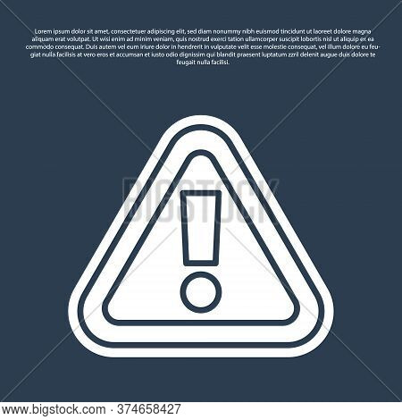 Blue Line Exclamation Mark In Triangle Icon Isolated On Blue Background. Hazard Warning Sign, Carefu