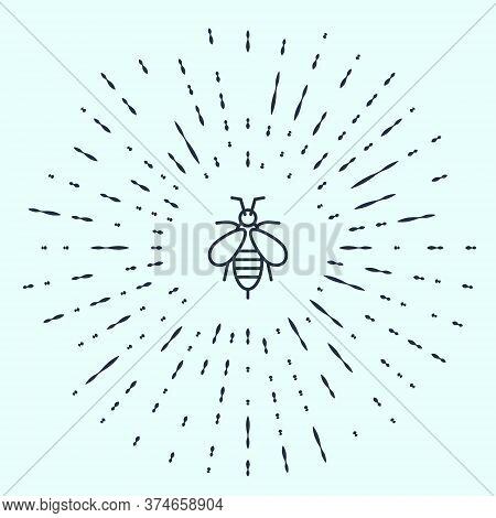 Black Line Bee Icon Isolated On Grey Background. Sweet Natural Food. Honeybee Or Apis With Wings Sym