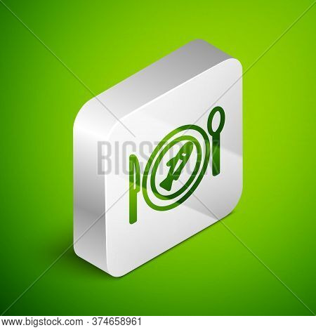 Isometric Line Served Fish On A Plate Icon Isolated On Green Background. Silver Square Button. Vecto