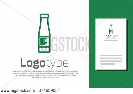 Green Line Sauce Bottle Icon Isolated On White Background. Ketchup, Mustard And Mayonnaise Bottles W