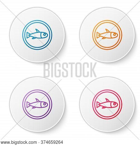 Color Line Served Fish On A Plate Icon Isolated On White Background. Set Icons In Circle Buttons. Ve