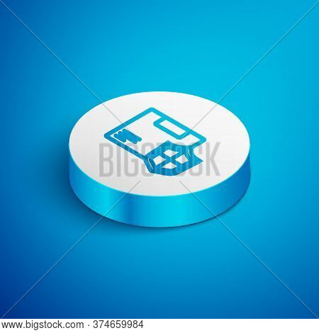 Isometric Line Delivery Security With Shield Icon Isolated On Blue Background. Delivery Insurance. I