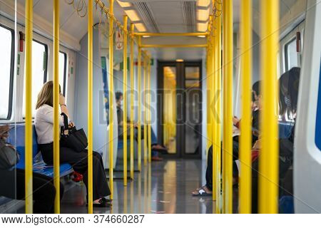 Bangkok, Thailand - 6 May 2020: Bangkok Airport Rail Link (arl) In Coronavirus (covid-19) Period. Th