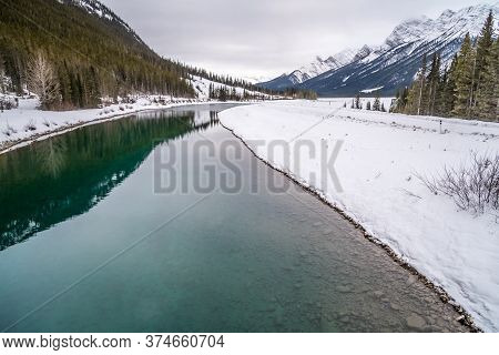 Goat Pond In Kananaskis Country In Winter, Alberta, Canadae