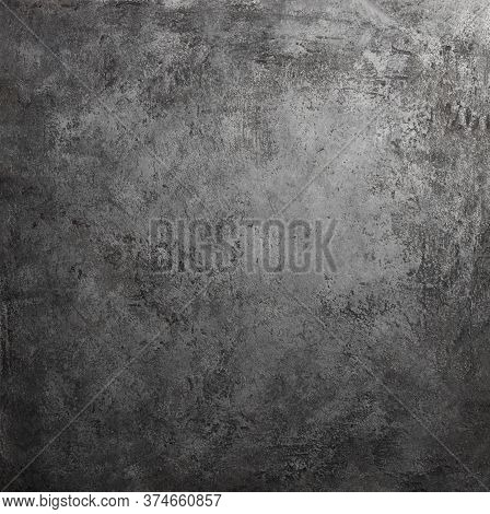Retro Stone Concrete Dark Gray Background With Old Absolete Scuffs And Black Splashes. Grungy Paint