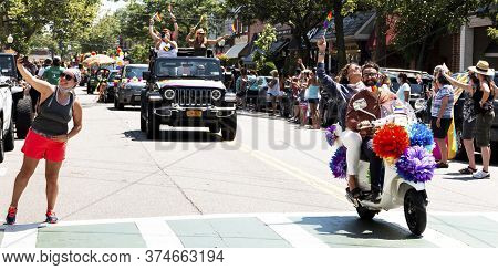 Babyon, New York, Usa - 28 June 2020: Spectators Line The Street During The Babylon Village Pride Ca