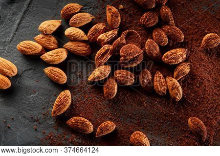 Cacao Beans And Powder Isolated On Grey Background. Top View And Flat Lay