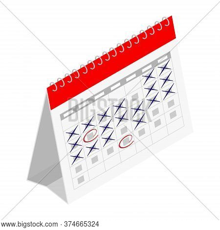 Planning Schedule And Calendar Concept. Vector. Isometric View. Isolated On White Background