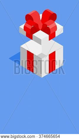 White Giftbox With Red Ribbon On Blue Background And Copy Space For Text. Father Day, Valentine Day,