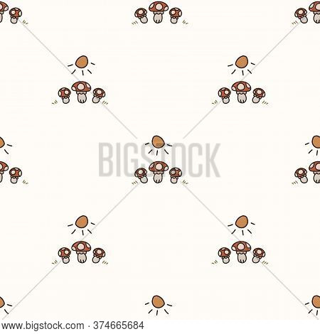 Seamless Background Toadstool Mushroom Gender Neutral Baby Pattern. Simple Whimsical Minimal Earthy