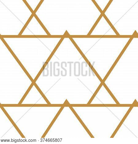 Abstract Geometric Pattern With Lines, Triangles Seamless Vector Background. White And Gold Texture