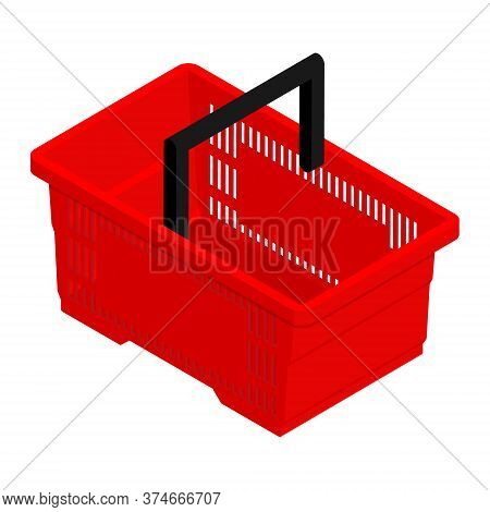Red Empty Shopping Basket Isolated On White Background. Isometric View. Vector