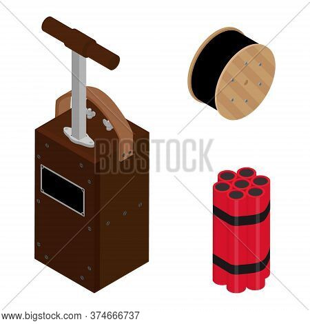 Blasting Machine Or Detonator Box, Dynamite Sticks And Black Wire Electric Cable Reel Isolated On Wh