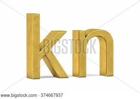Golden Croatian Kuna Sign Isolated On White Background - 3d Render