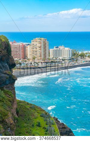 Hotels On A Beach With Black Sand. Playa De Martianez, Puerto De La Cruz, Tenerife, Spain
