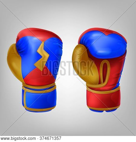 Realistic Vector Illustration Of Leather Multicolored Boxing Gloves. Sport Equipment To Protecting H