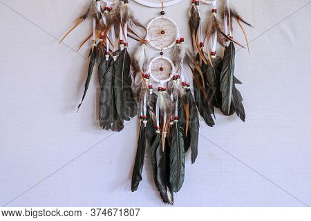 Macro View Of Real Native Dream Catcher Details On Pure White Ba
