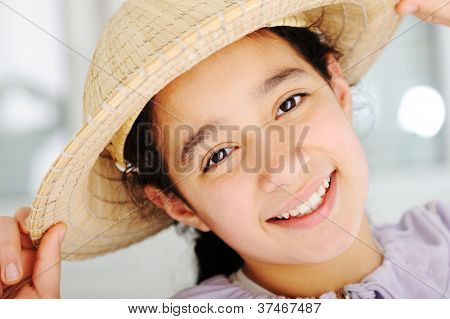 Cute teen girl with hat
